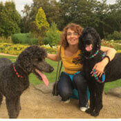 picture of two poodles and their borrower